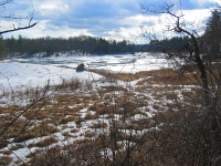 Lake by the dam in winter